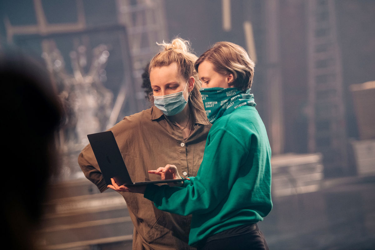 L To R Morgann Runacre Temple And Jessica Wright On Set Of Scottish Ballets The Secret Theatre  Credit Mihaela Bodlovic 2
