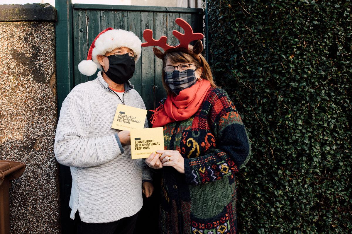 David and Moyra recieve their christmas CD's from Edinburgh International Festival. Credit: Ryan Buchanan.